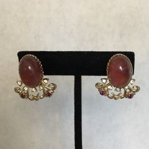Vintage Screw Back Cabochon Earrings